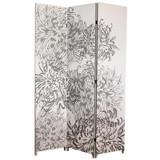 Bota Triple Canvas Screen; Chrysanthemum Pattern In Grey. 48 Inch X 71 Inch X1 Inch .