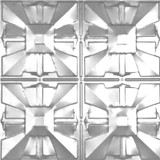 2 Feet x 2 Feet Chrome Plated Steel Finish Lay-In Ceiling Tile  Design Repeat Every 12 Inches