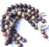 12mm Dakota- Gemstone Madagascar Rainforest Round Agate Beads