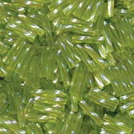 12mm Tr Chartreuse Ab Twist Japanese Bugle sprial beads