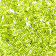 15 Gram Cube Silver Lined Peridot Translucent Beads