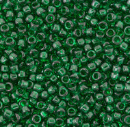 15/0 Japanese Transparent Emerald Green Seed Beads 15 Gram