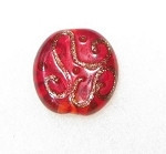 "18/12mm Disk "" Tababular"" Bohemian Red translucent glass bead"