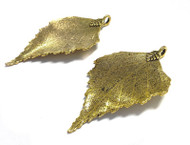 2 gold plated leaf pendant charms
