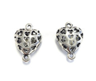 2 silver plated heart connectors