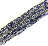 2 Tone Chinese Crystal faceted Cobalt Blue Silver Rondelle Beads