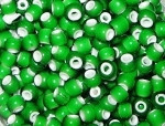 30 Vintage Green White Heart Trade Beads