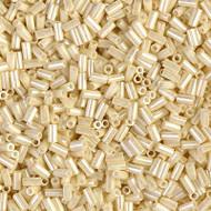 3mm Bugle Japanese Dark Beige Luster Glass Beads 15 Gram