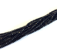 3mm Chinese Crystal faceted Jet- Black Rondelle Beads