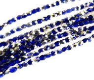 4mm Czech Blue Silver FP Glass Beads