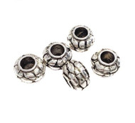 4mm Hole Antique Silver Plated Rondelle Beads