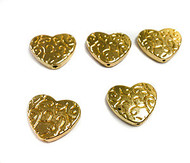 5 gold plated heart bead Spacers