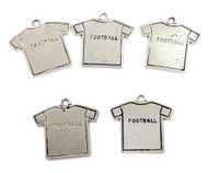 5 Silver plated football jersey charms