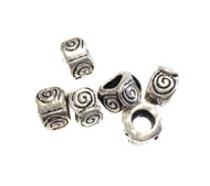 5mm big Hole Antique Silver Plated Beads