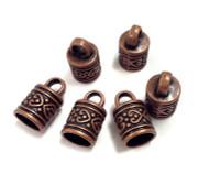6 Bronze kumihimo end caps