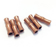 6 copper metal tube beads