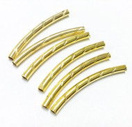 6 gold plated metal tube beads