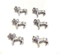 6 silver plated lion charms