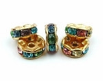 6mm LT Multi crystal gold plated rondelle spacer