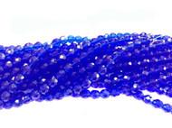 8mm Czech Dark Sapphire Fire Polished Glass beads