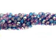 8mm Czech Multi Coated Aqua Fuchsia  Fire Polished Glass beads