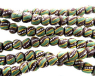 African Brown Stripe Recycled Glass Handmade Natural Beads