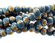 African Daisy pattern Recycled Glass Handmade Natural Beads