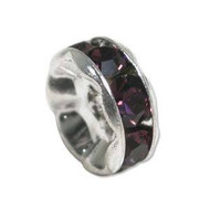 Amethyst crystal silver plated rondelle 6mm spacer