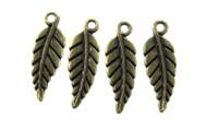 Antique Brass Fine Leaf Charm