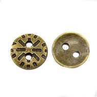 Antique Brass Plated 2 Hole Metal Button