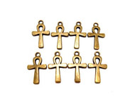 Antique Brass Plated Metal Ankh charms