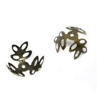 Antique Bronze Flower Filigree Bead Caps