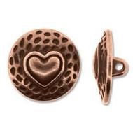 Antique Copper  Heart metal Button