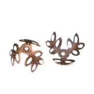 Antique Copper Flower Filigree Bead Caps