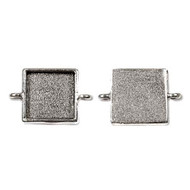 Antique Silver Cabochon Square Metal Link