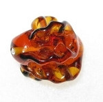 Authentic Amber Czech handmade Lamp  Walnut glass bead