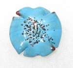 Blue Bohemian glass flower copper bead