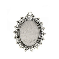Cabochon Antique Silver Oval Metal Pendant