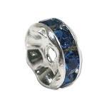 Capri blue crystal silver plated rondelle spacer