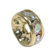 Crystal AB gold plated 9mm spacer