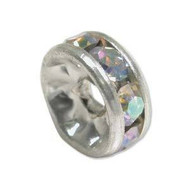Crystal AB Silver plated 12mm spacer