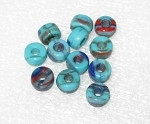 Czech Aqua multi  large hole Roller disk glass beads 9mm