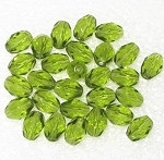 Czech Oval faceted 11x7mm Peridot fire polished  beads