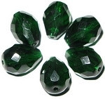 Czech Pear faceted Emerald fire polished beads