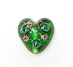 Emerald Handmade Floral heart glass pendant