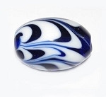 Fine Oval Feather Murano Venetian glass bead.