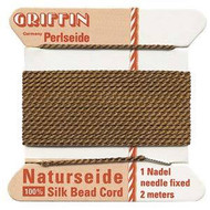 Griffin silk bead cord Brown 12