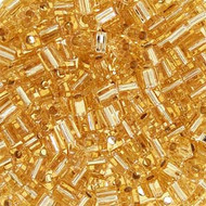 Japanese 3mm Cube Silver Lined Lt Gold Seed Beads