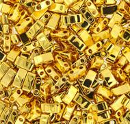 Japanese Half Tila 24K Gold Plated Glass Beads 10Gm Bag