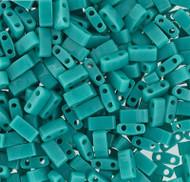 Japanese Half Tila Opaque Green Turquoise Glass Beads 10Gm Bag
